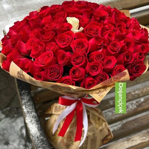 101 Kırmızı Gül taze çiçek